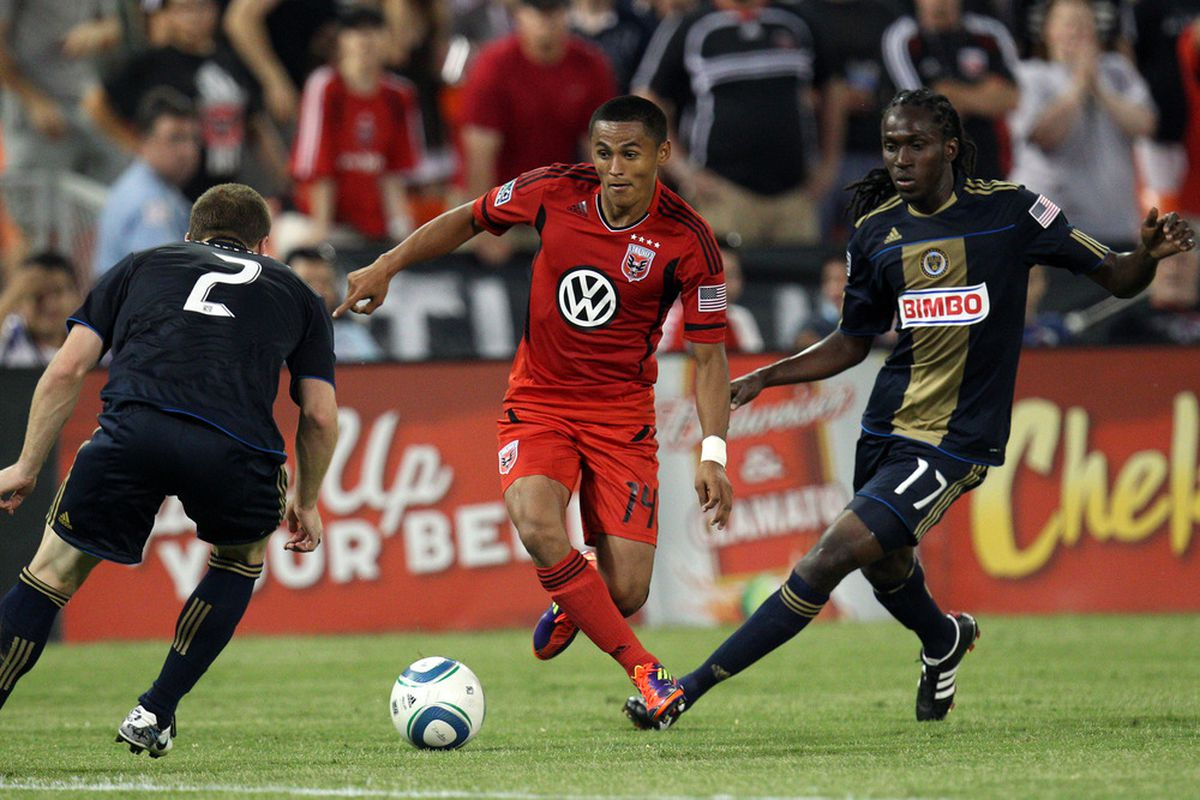 WASHINGTON, DC - JULY 2: Andy Najar #14 of D.C. United controls the ball against Keon Daniel #17 of the Philadelphia Union at RFK Stadium on July 2, 2011 in Washington, DC. (Photo by Ned Dishman/Getty Images)