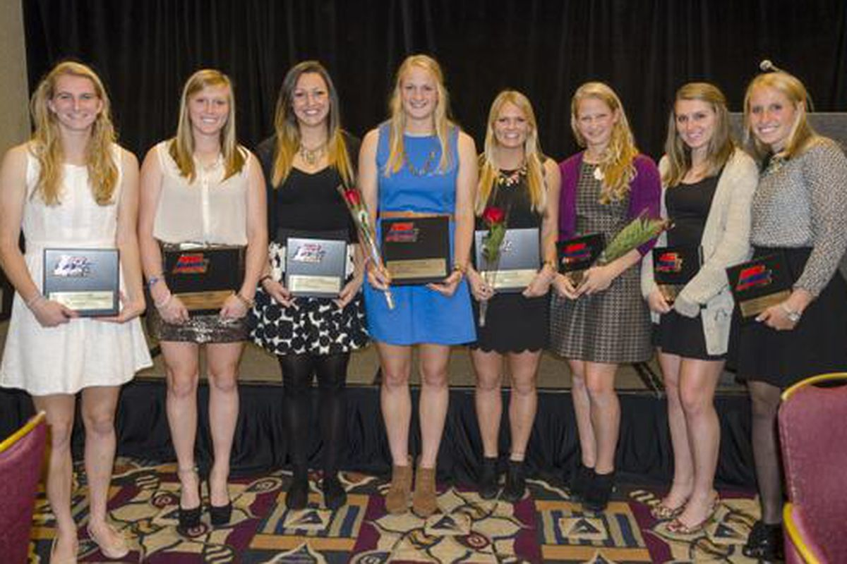 Marquette's eight all-conference honorees. And people wonder why I make jokes about too many long haired blonde women on the team.