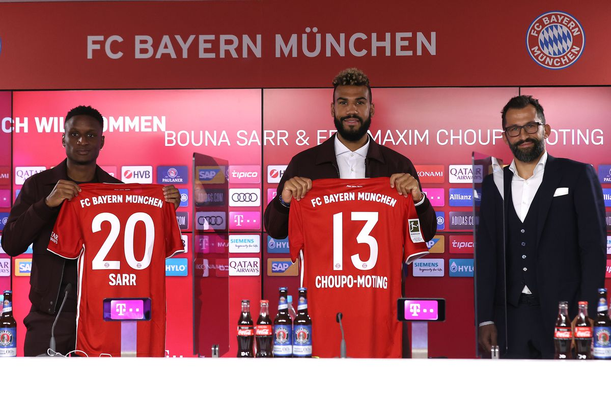 FC Bayern Muenchen Unveils Newly Signed Players Eric Maxim Choupo-Moting And Bouna Sarr