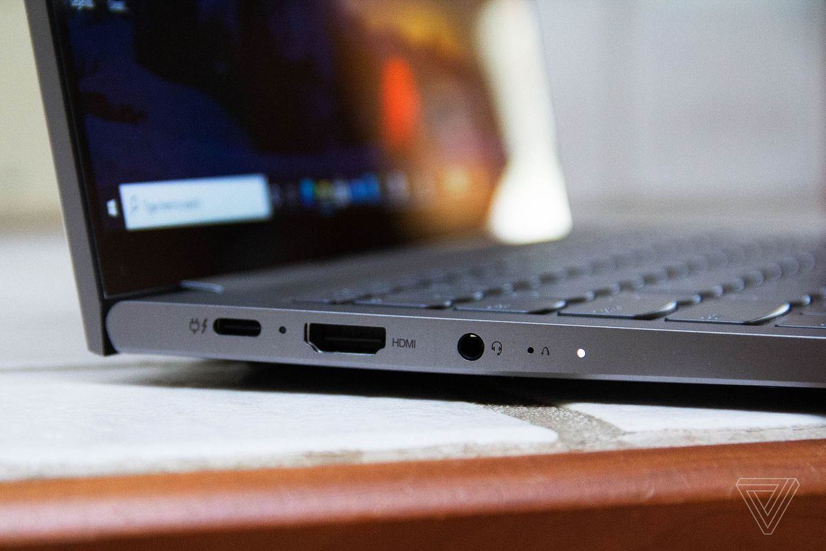 The ports on the left side of the Lenovo ThinkBook 13s.