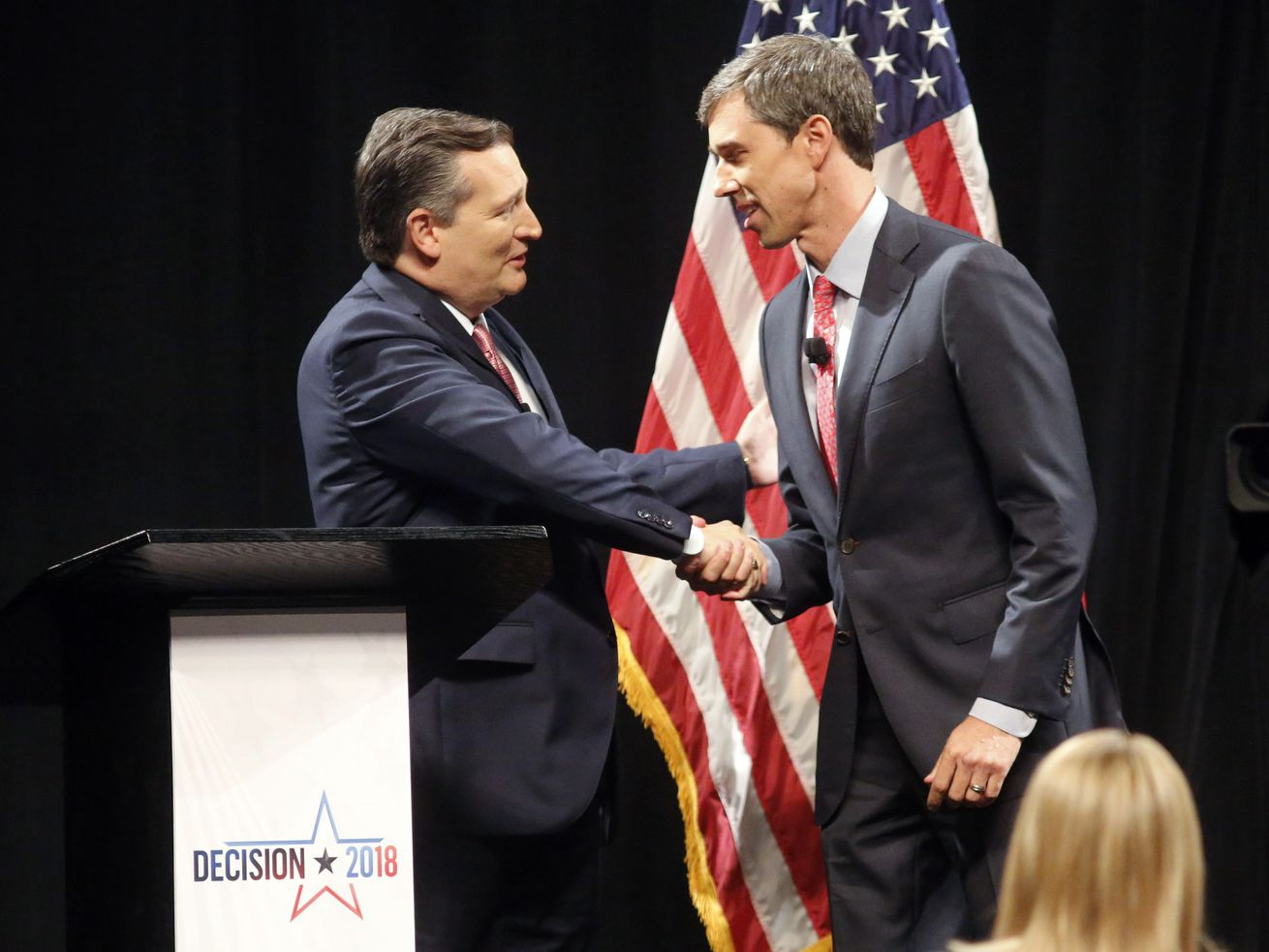 Sen. Ted Cruz (R-TX) shakes hands with Rep. Beto O'Rourke (D-TX) prior to the start of a debate