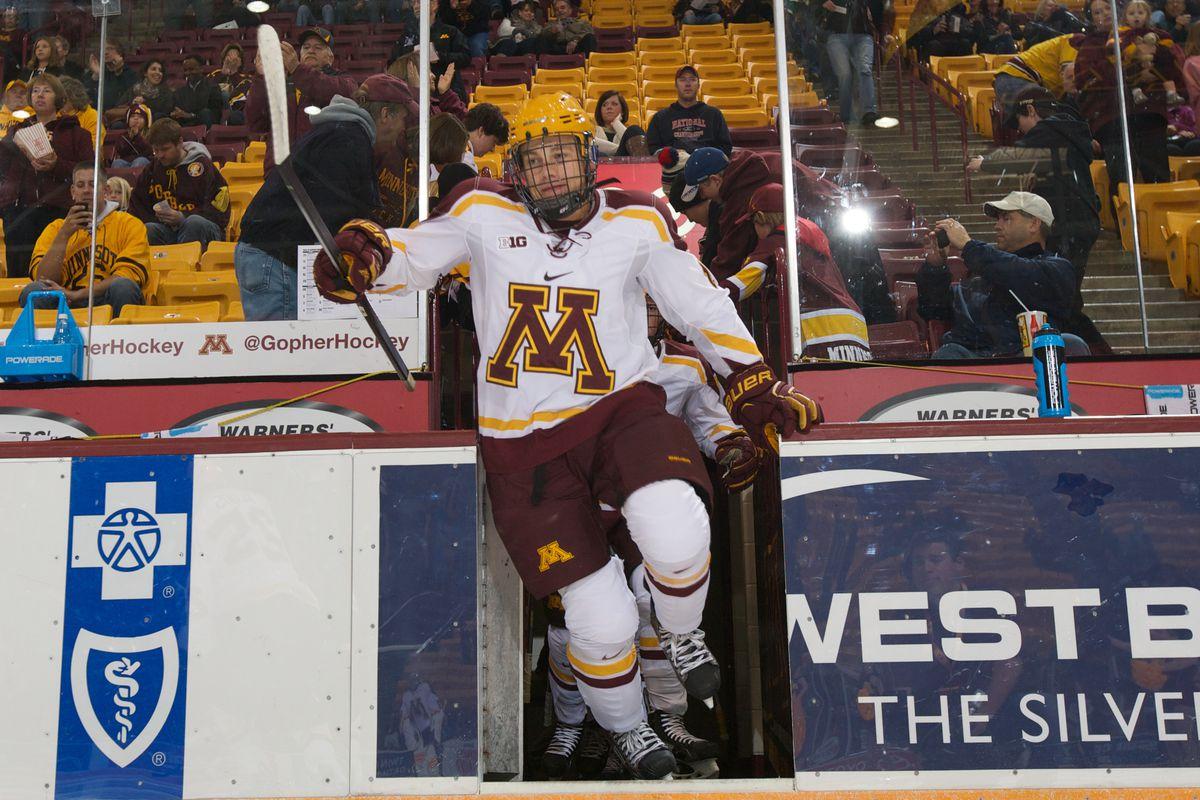 Minnesota freshman forward Leon Bristedt (18)
