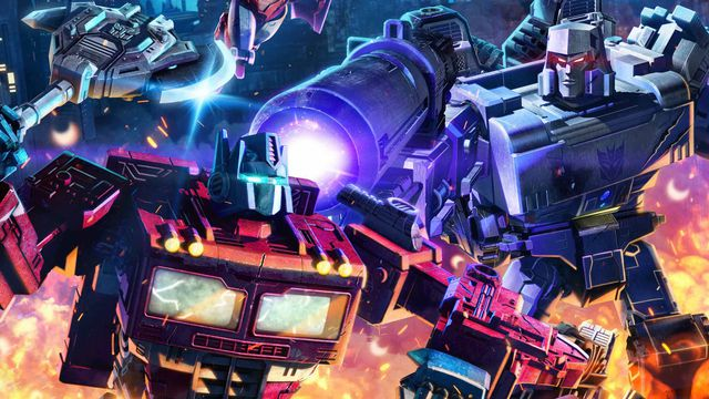 a close up on optimus prime and megatron fighting