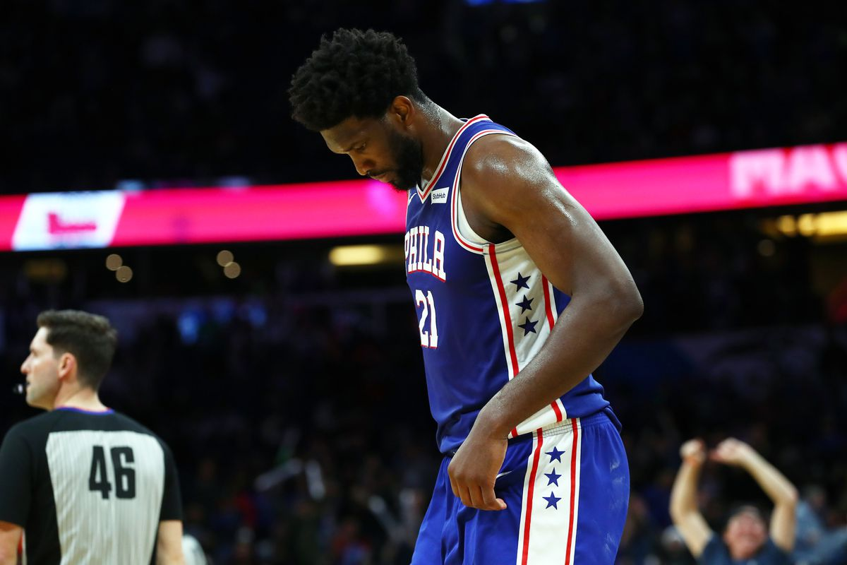 Philadelphia 76ers center Joel Embiid looks down as they lost to the Orlando Magic at Amway Center.