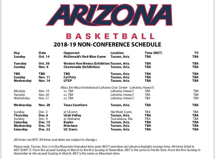 arizona wildcats unveil 2018 19 non conference basketball schedule