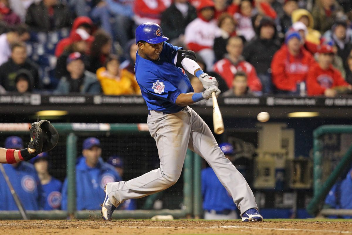 Shortstop Starlin Castro of the Chicago Cubs bats against the Philadelphia Phillies at Citizens Bank Park in Philadelphia, Pennsylvania. The Phillies won 5-2. (Photo by Hunter Martin/Getty Images)