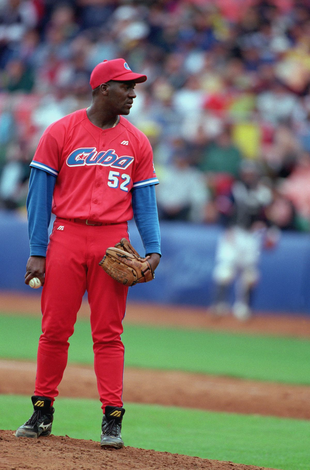 Jose Ariel Contreras of Cuba stands on the mound