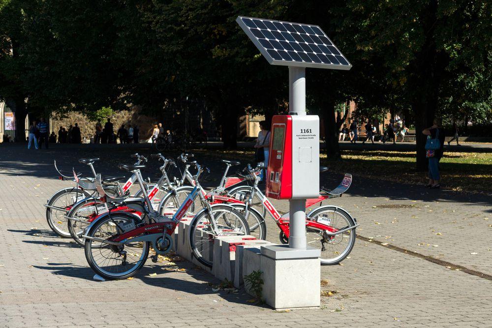 Solar everywhere! Here's a panel running a bike rental in Berlin.