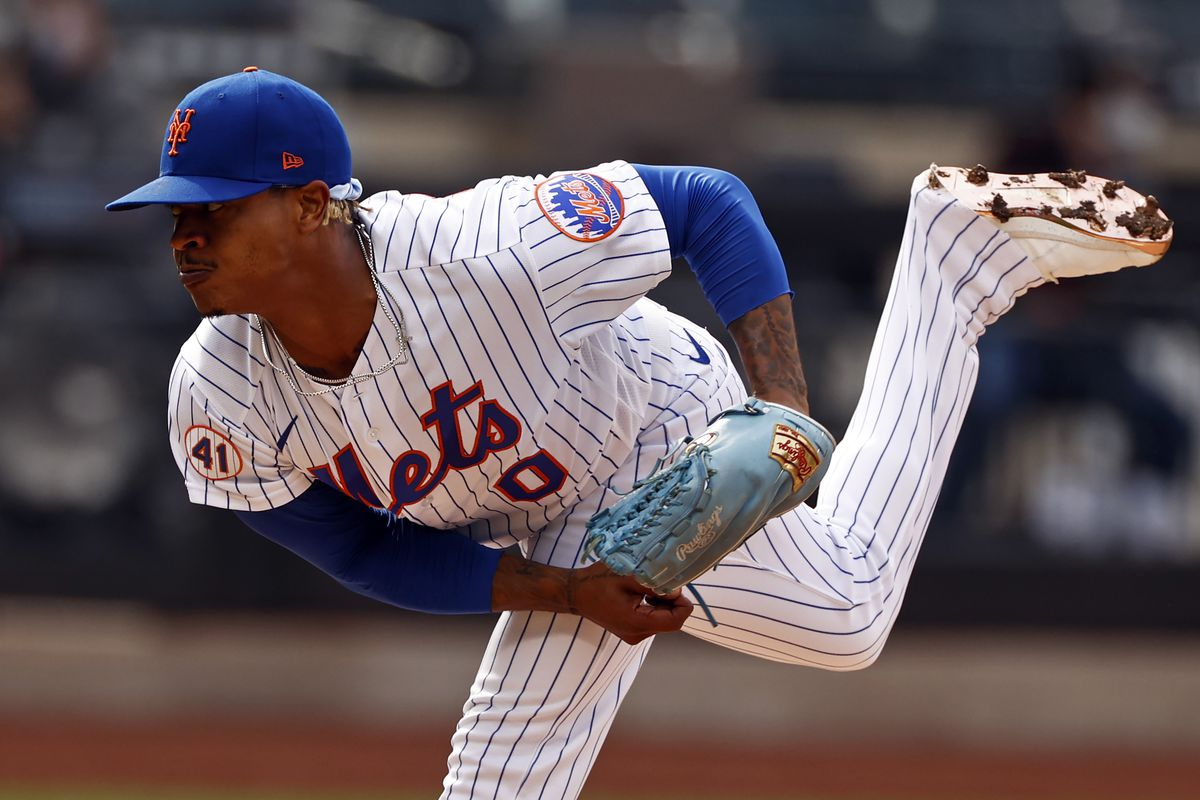 Marcus Stroman #0 of the New York Mets pitches during the first inning against the Washington Nationals at Citi Field on April 24, 2021 in the Flushing neighborhood of the Queens borough of New York City.