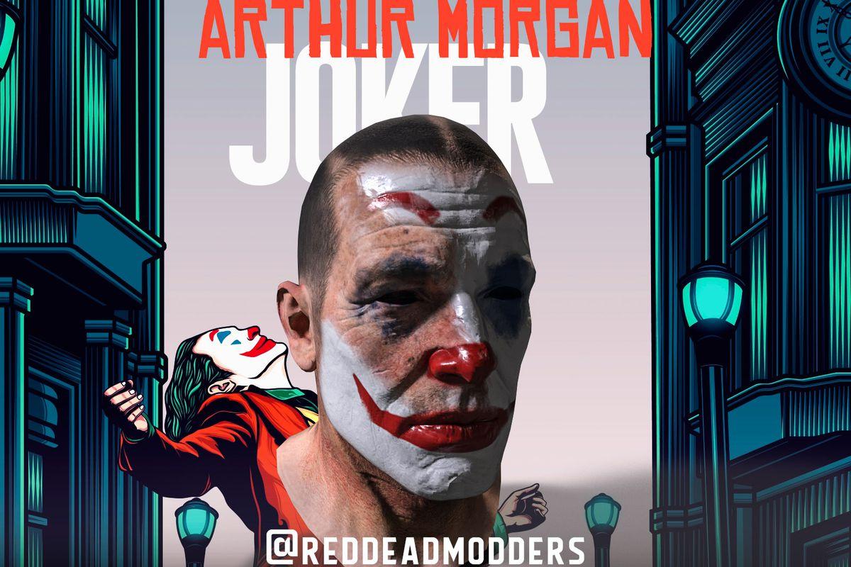 Arthur Morgan wearing clown makeup
