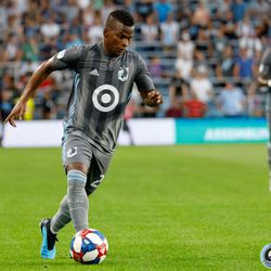 July 27, 2019 - Saint Paul, Minnesota, United States - Minnesota United forward Darwin Quintero (25) dribbles the ball during the match against Vancouver Whitecaps at Allianz Field.
