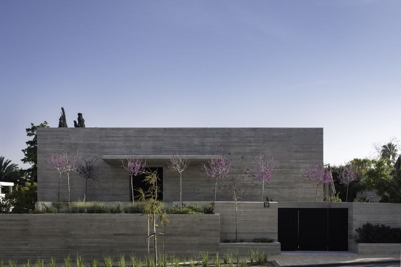 Concrete house with pink trees in front