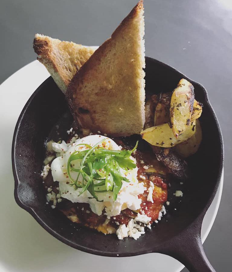 food with bread and poached egg