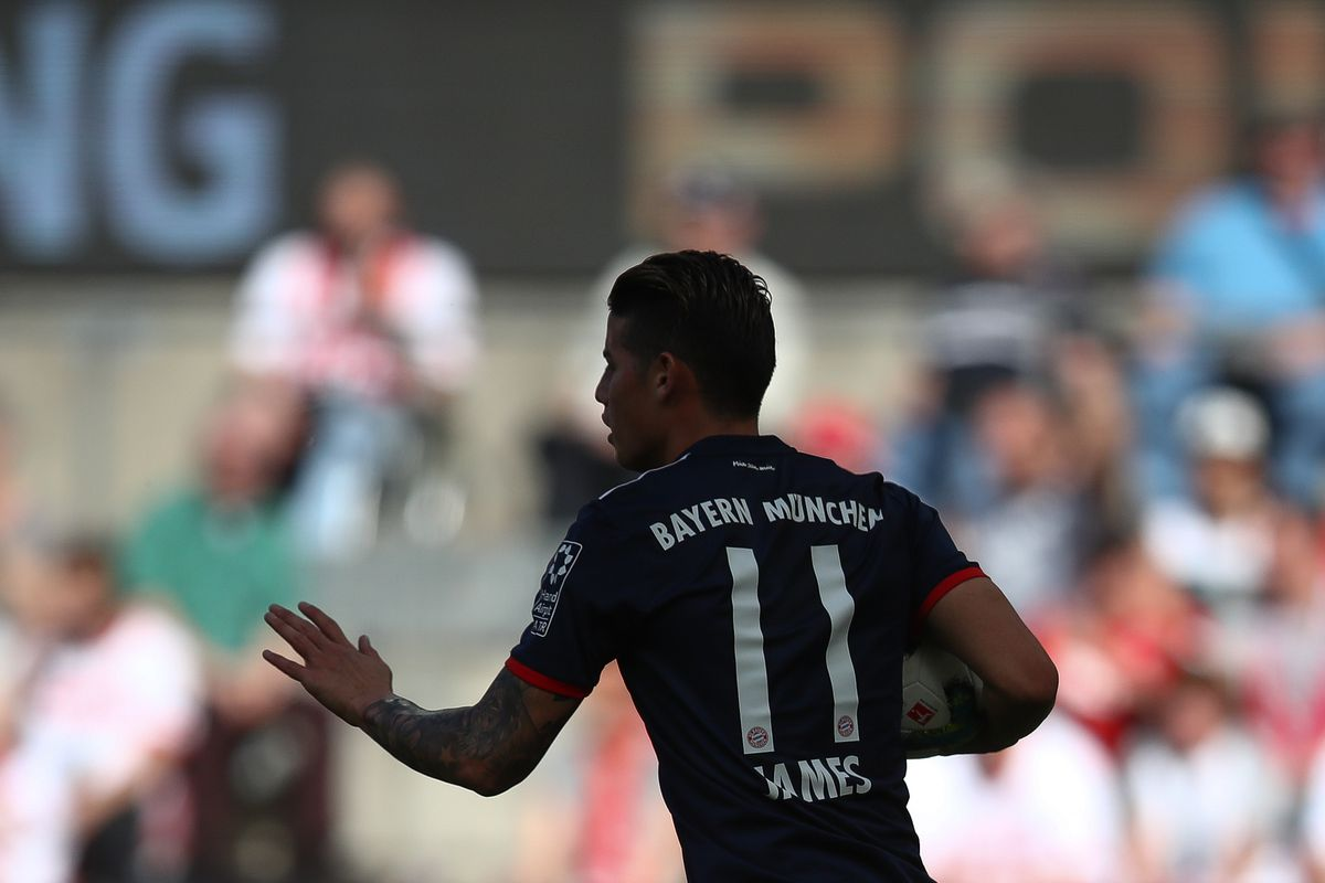 COLOGNE, GERMANY - MAY 05: James Rodriguez #11 of Bayern Munich celebrates after he scores the equalizing goal during the Bundesliga match between 1. FC Koeln and FC Bayern Muenchen at RheinEnergieStadion on May 5, 2018 in Cologne, Germany.