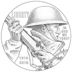 A rendering of the front of a World War I commemorative coin, designed by Utah sculptor LeRoy Transfield. His art is the winning design for the 2018 WWI American Veterans centennial silver dollar.