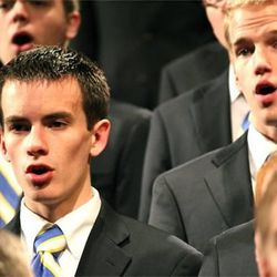 The BYU Men's Chorus during a performance