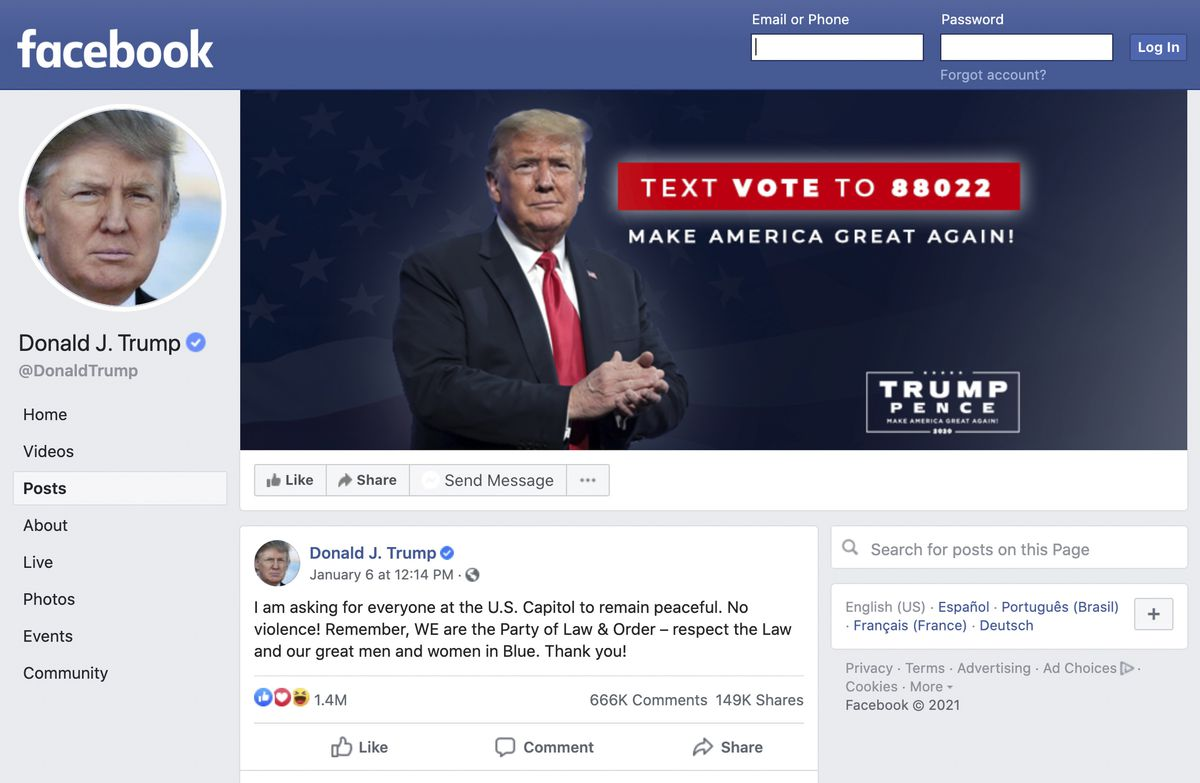 In a screenshot captured Wednesday, Feb. 3, 2021, Donald Trump's Facebook page is still live, minus the two posts that triggered the suspension,despite having been locked out by the social media platform on Jan. 8.
