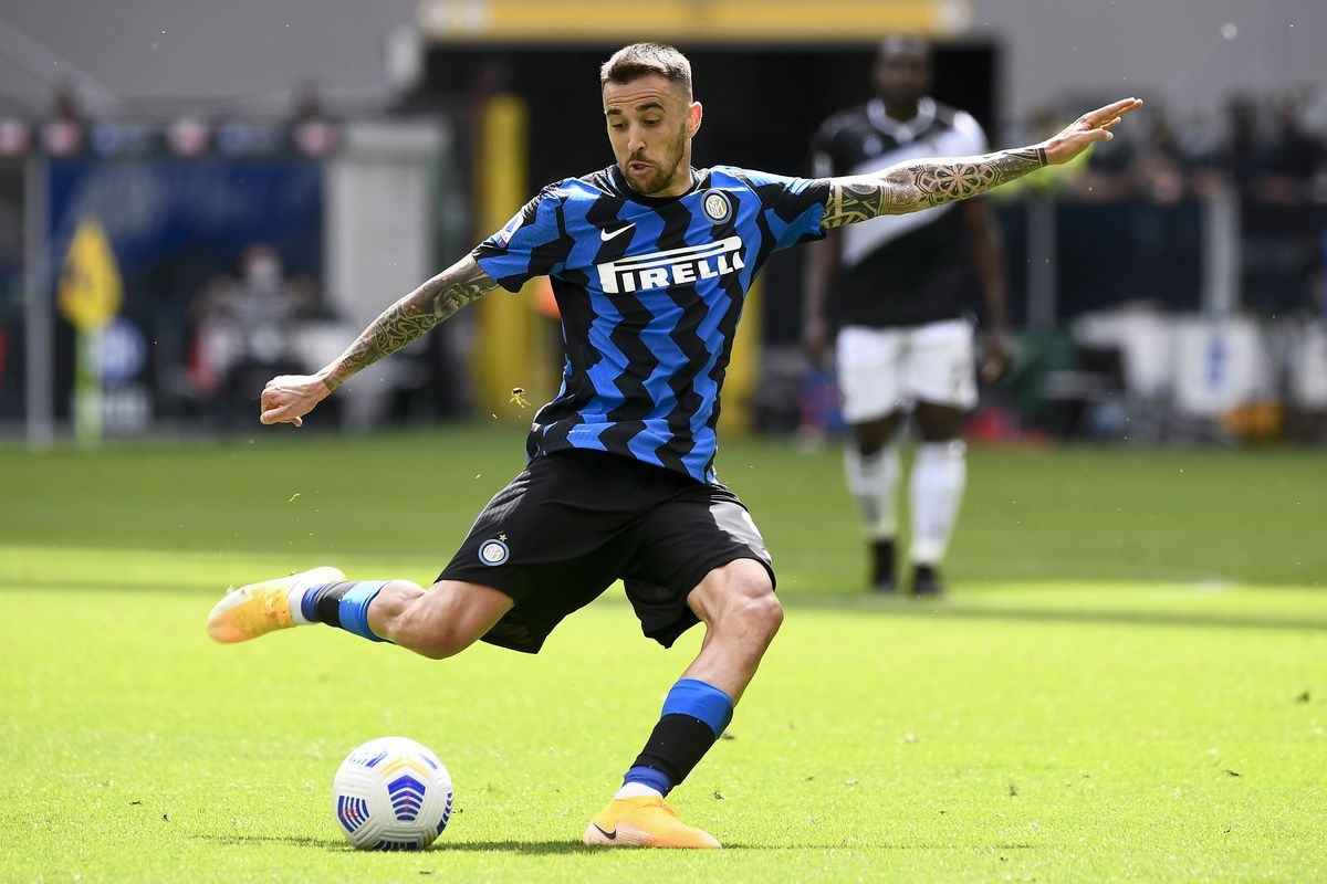 Matias Vecino of FC Internazionale kicks the ball during the...