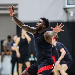 Runnin' Ute David Jenkins Jr. gets in some work at the University of Utah's basketball training facility. The UNLV transfer is expected to be a key contributor for Utah in the 2021-22 season.
