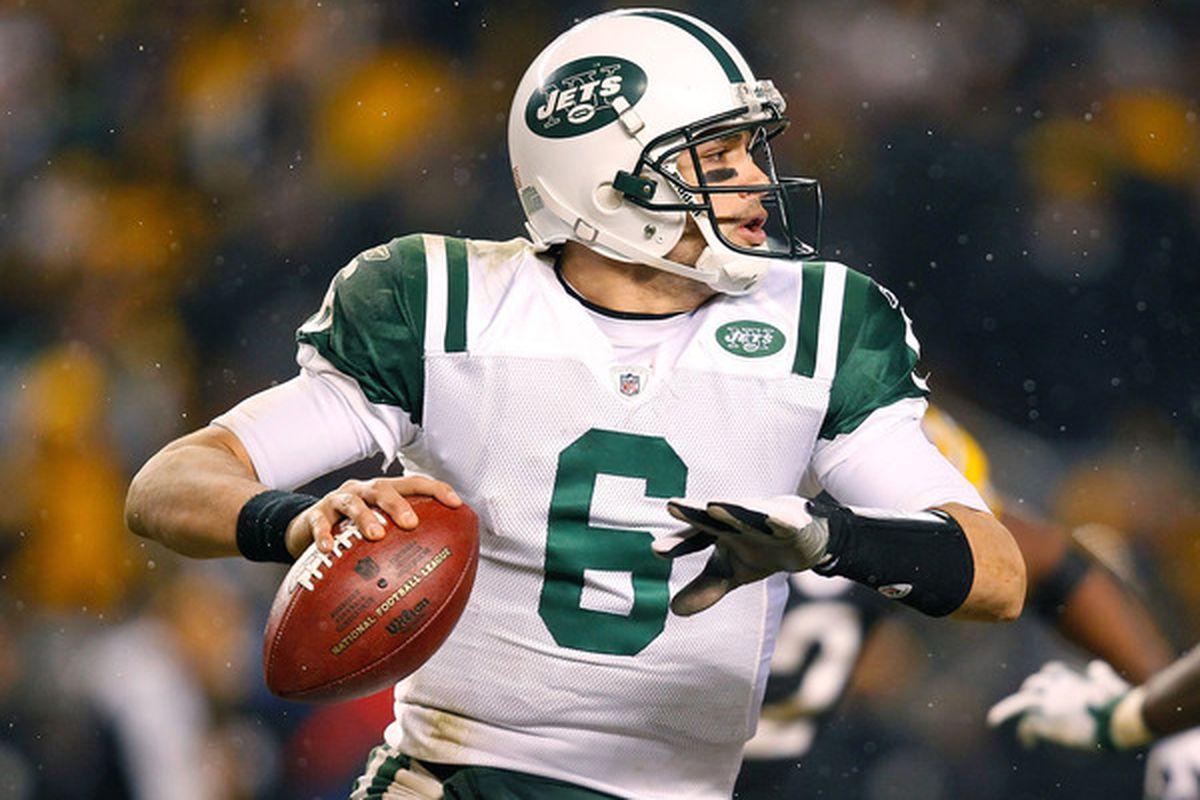 New York Jets quarterback Mark Sanchez.  (Photo by Jared Wickerham/Getty Images)