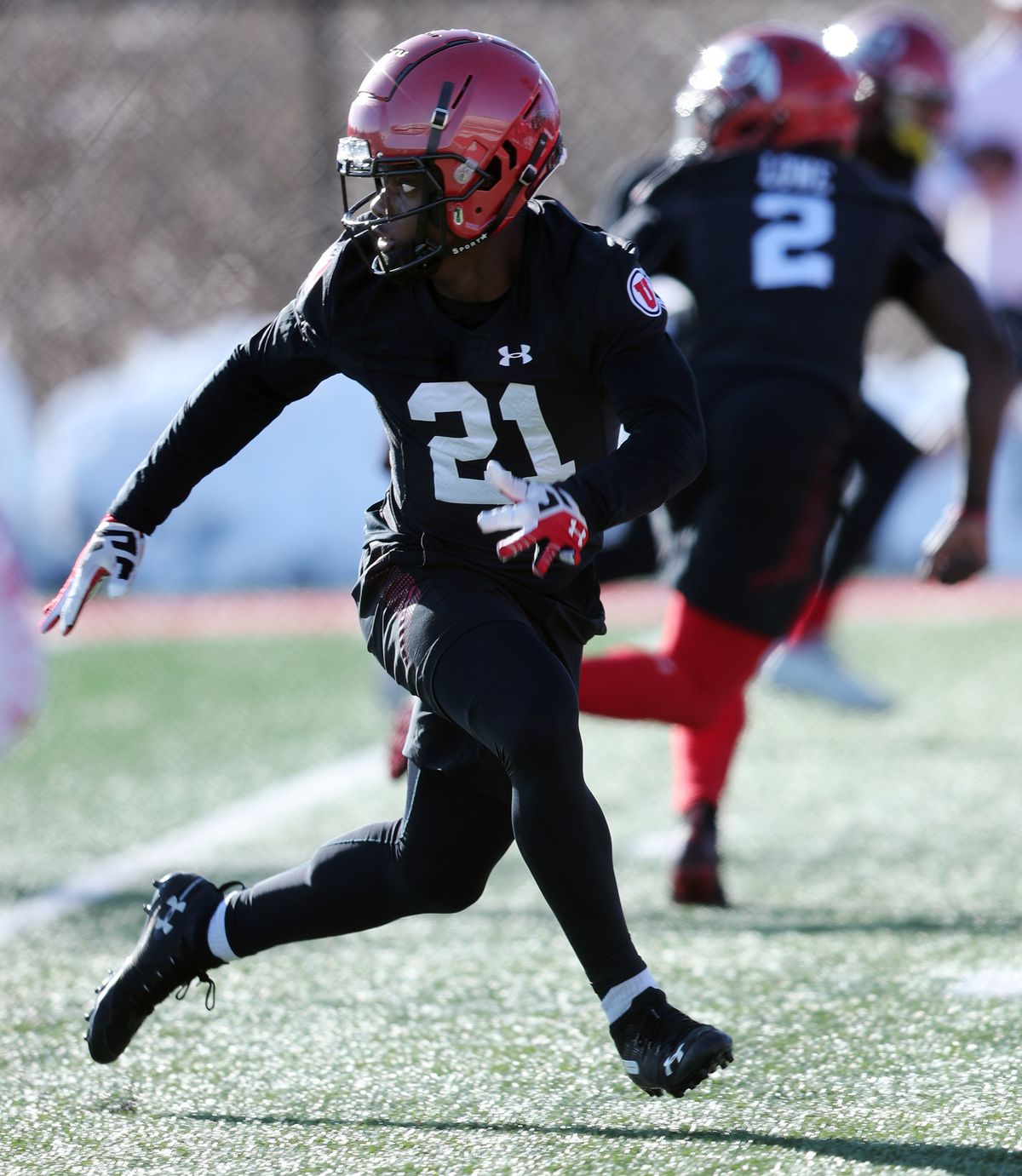 Cornerback Clark Phillips III runs a drill as he and the rest of the University of Utah football team open spring camp at the Eccles Football Facility practice fields in Salt Lake City on Monday, March 2, 2020.