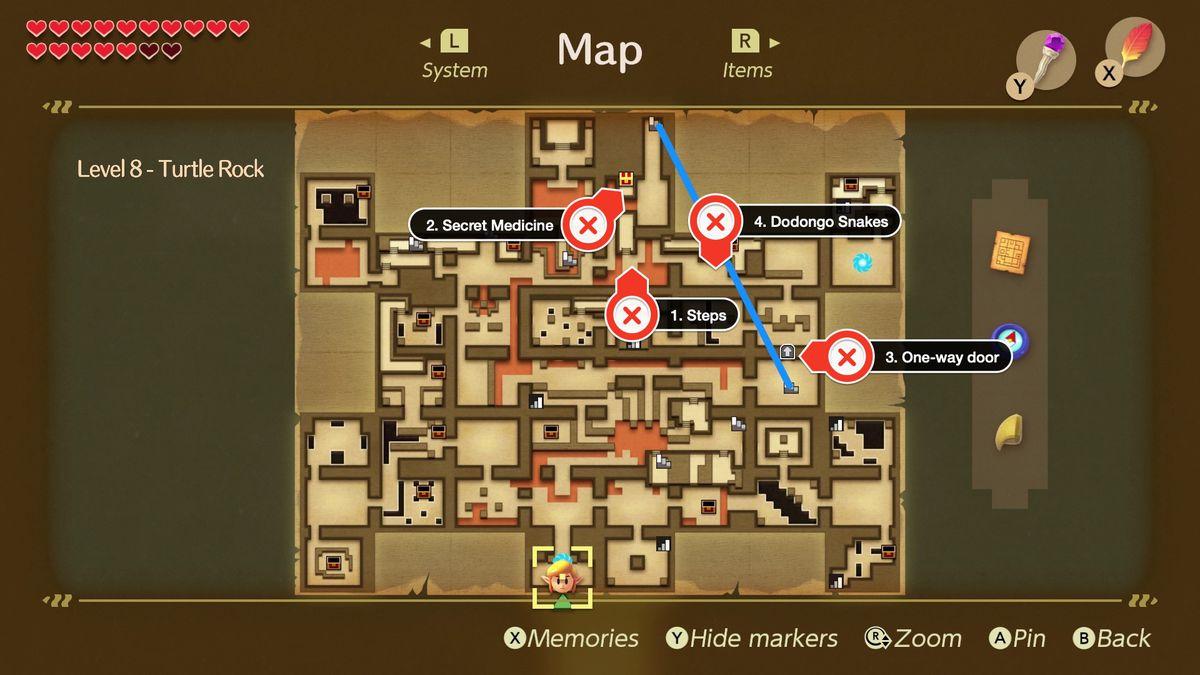 Link's Awakening Turtle Rock Secret Medicine location