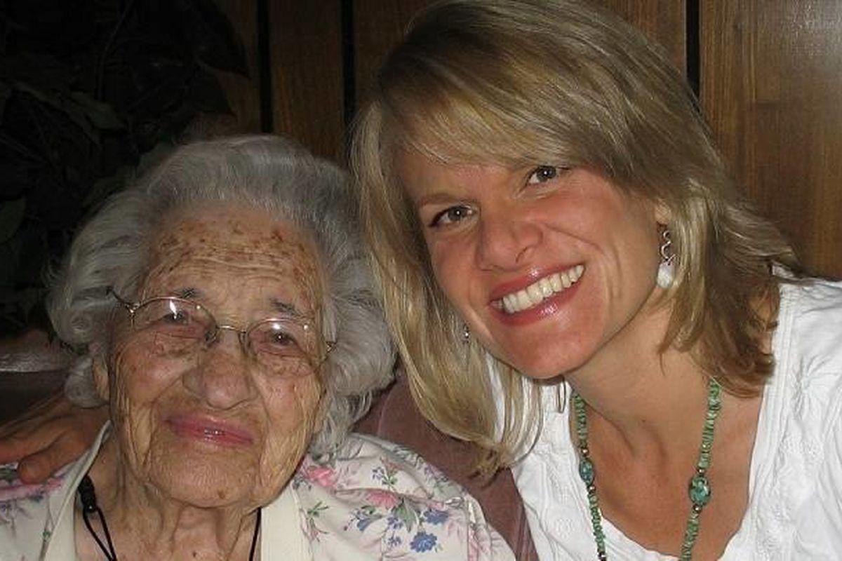 Lorna Call Alder, left, is shown with biographer Barbara Jones Brown.