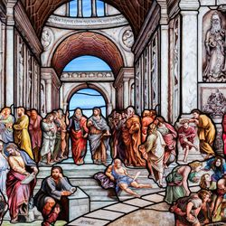 """Many of the artists and Utah Valley University professors who collaborated on """"Roots of Knowledge"""" are depicted in a reproduction of Rafael's """"The School of Athens."""" A Guardian UK reporter called the work """"one of the most spectacular stained glass windows made in the past century."""""""