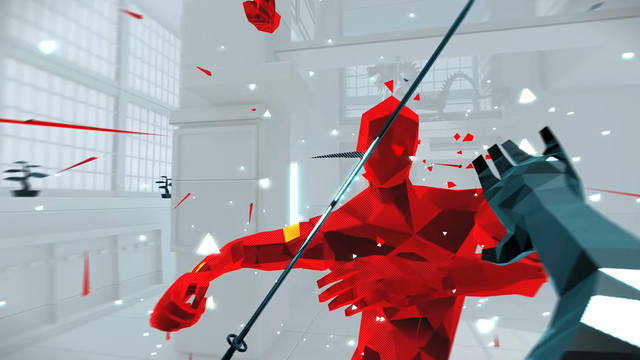 the player throws at sword at an enemy in Superhot: Mind Control Delete