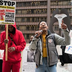 People seeking greater police accountability hold a counter-protest at Daley Plaza.  | Max Herman/For the Sun-Times