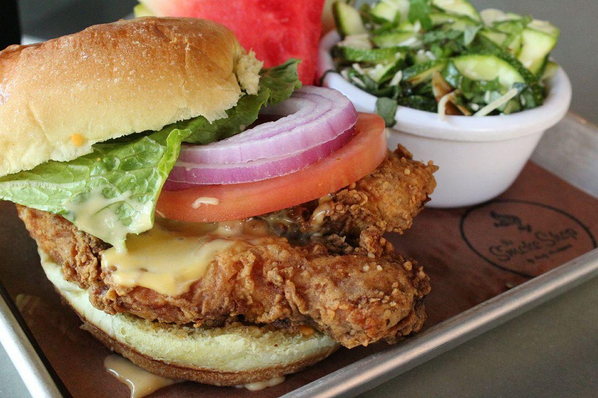 Fried chicken sandwich at the Smoke Shop