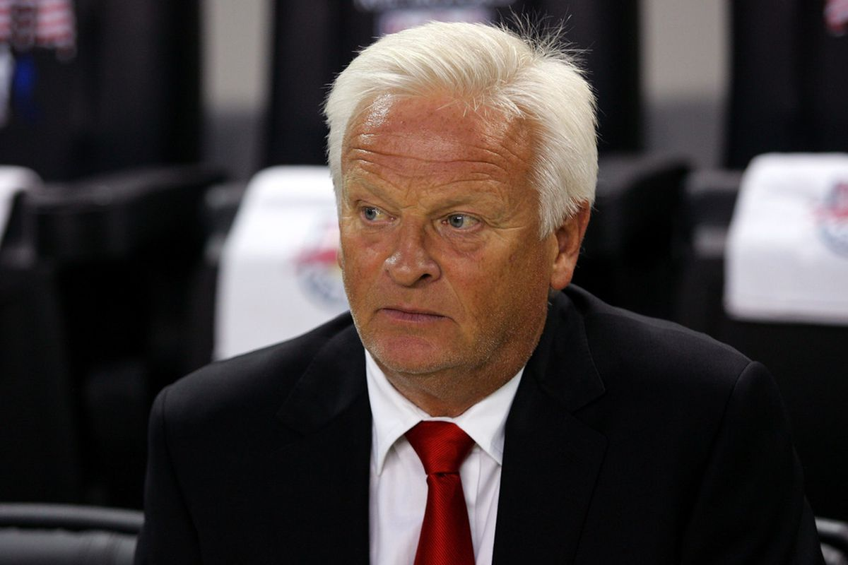 This has been a difficult season for Hans Backe and the New York Red Bulls.  (Photo by Andy Marlin/Getty Images for New York Red Bulls)