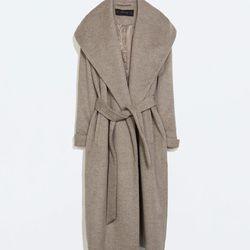 """Zara wool coat with belt, <a href=""""http://www.zara.com/us/en/woman/outerwear/wool-coat-with-belt-c269183p2206022.html"""">$189</a>"""