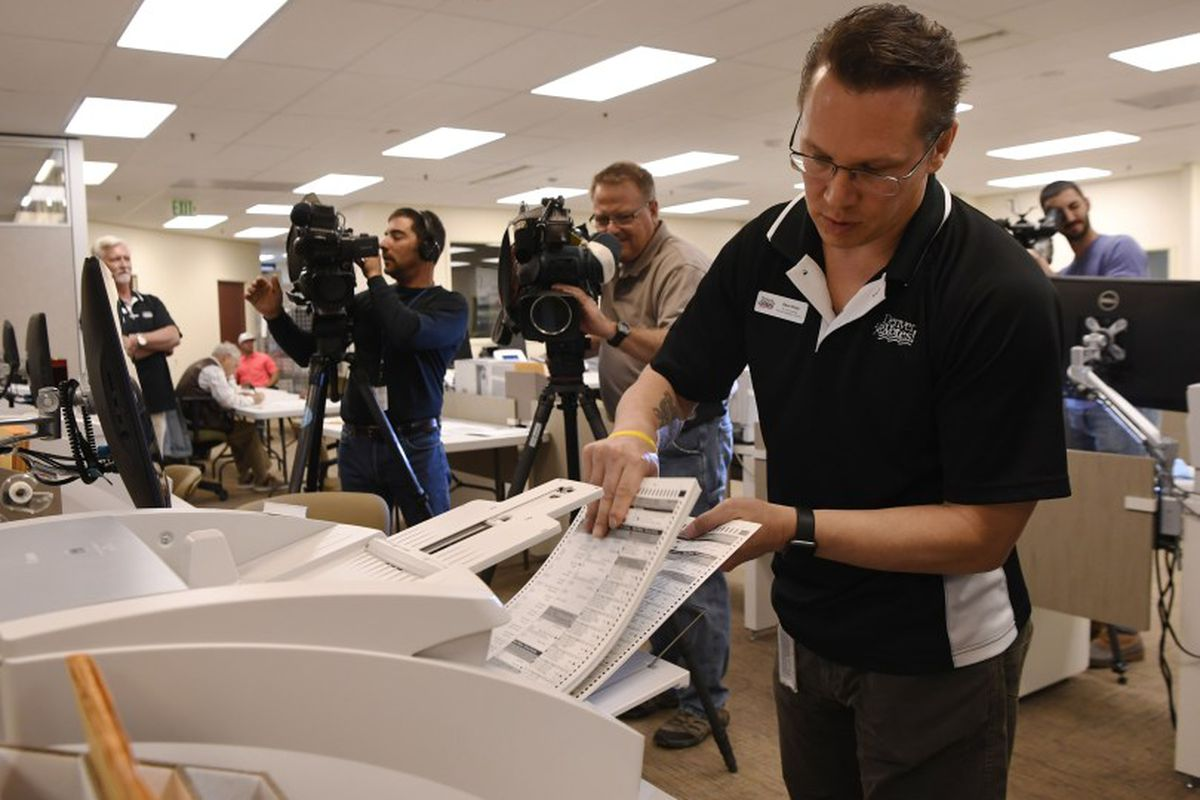 A test ballot run at the Denver Elections headquarters in October  (Photo by Andy Cross/The Denver Post).