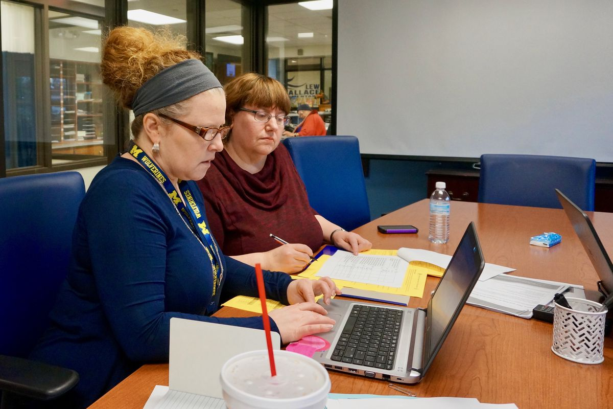 Paige Sowders (left) is one of three multi-classroom leaders who are helping teachers at School 107.