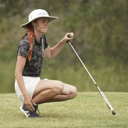 Alyssa Buist, Ridgeline, lines up a putt during the Utah Section PGA Spring Individual Championship in Rose Park Golf Course in Rose Park on Thursday, June 4, 2020.