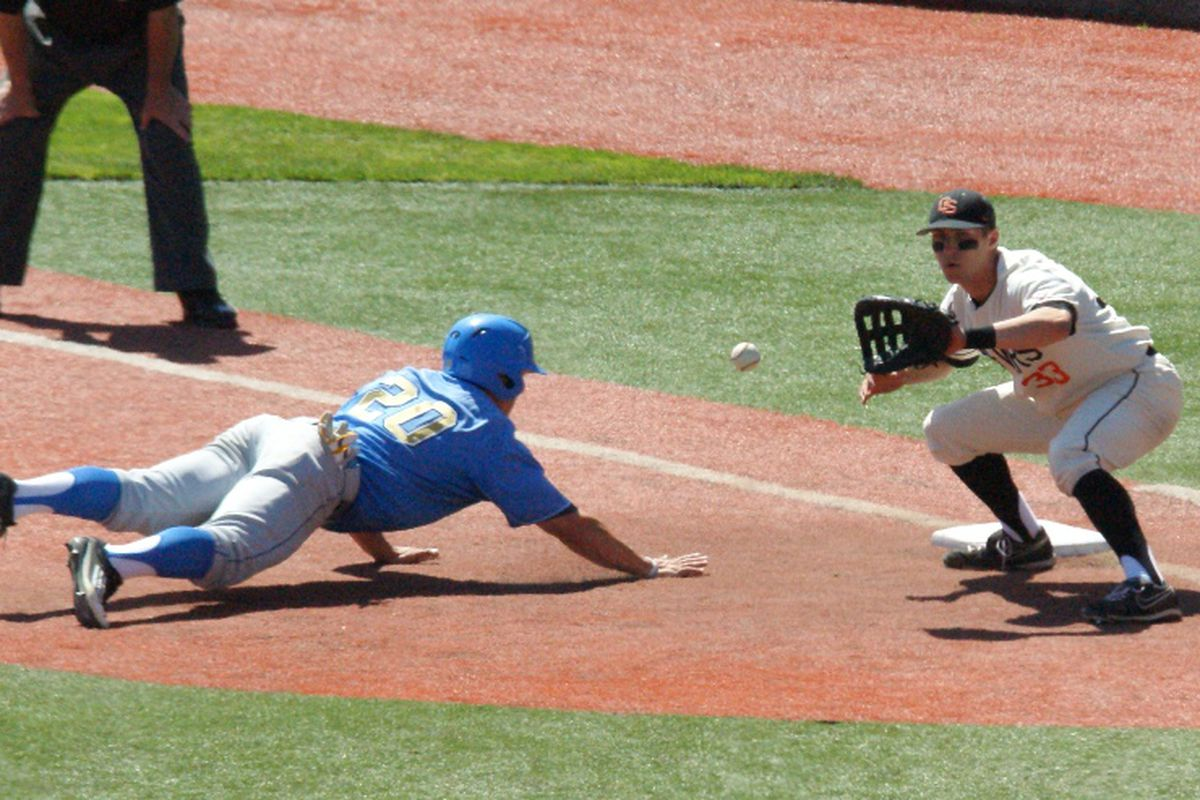 Oregon St. baseball returns to action tonight. The Beavers need a good weekend in LA in order to stay in the thick of the crowded Pac-12 race. <em>(Photo by Andy Wooldridge)</em>