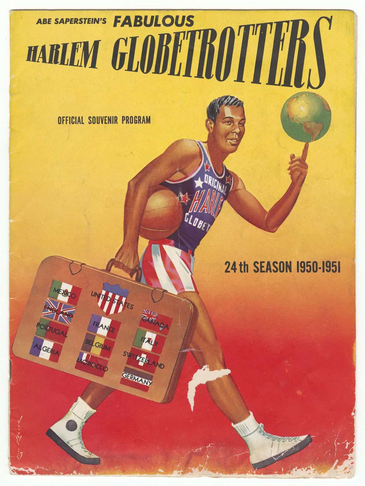 Harlem Globetrotters Program, 24th season. The team was owned by Chicago's Abe Saperstein.   Collection of the Smithsonian National Museum of African American History and Culture; gift of Vicki Gold Levi
