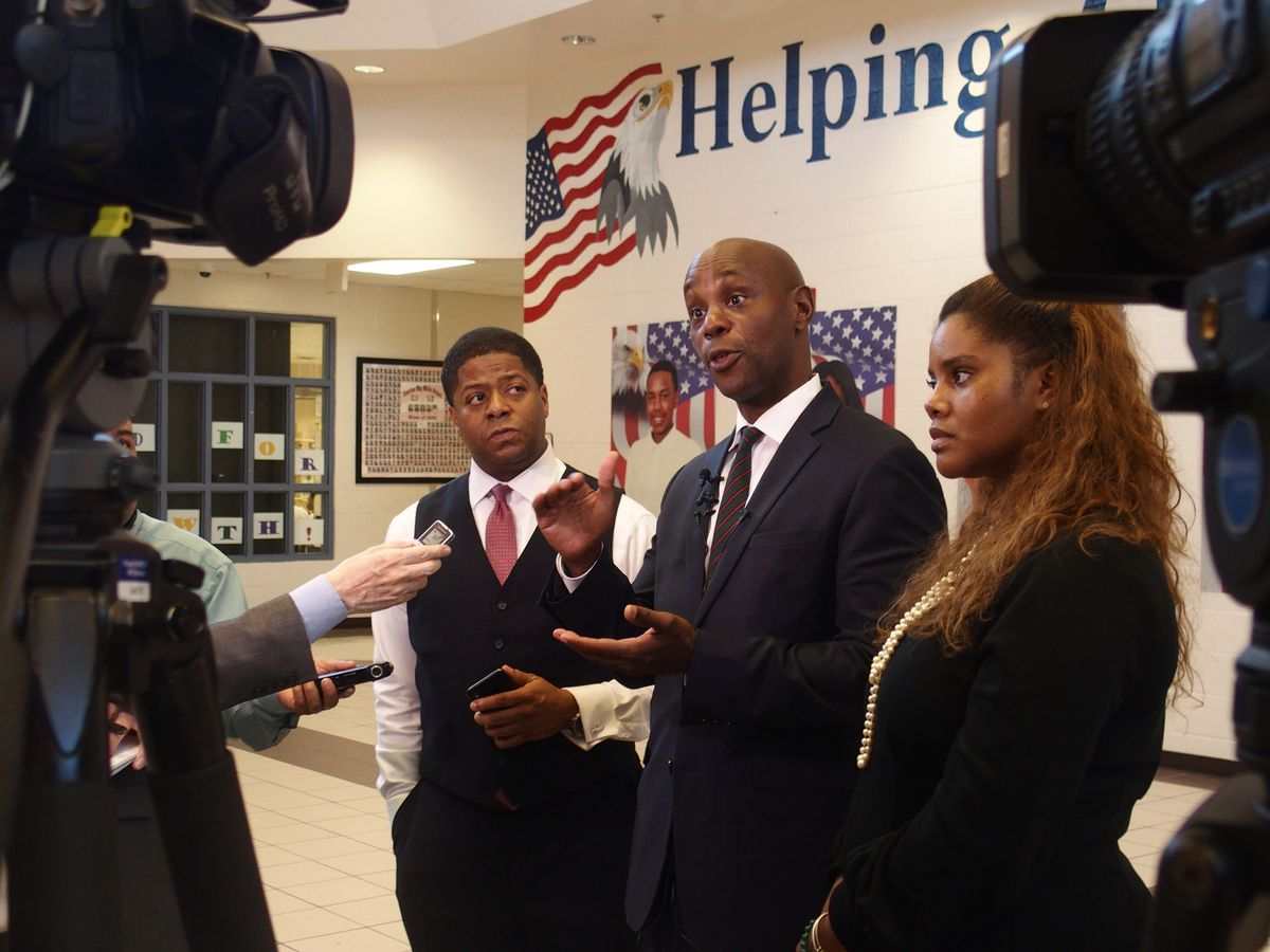 Superintendent Dorsey Hopson speaks to reporters on the first day of school at American Way Middle School.