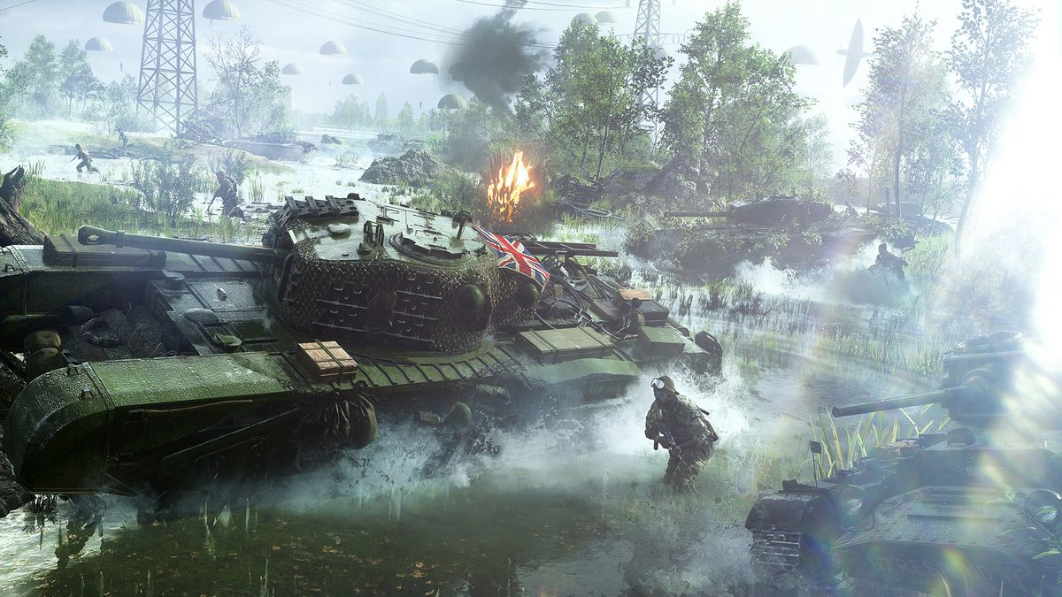 Key art of a British Churchill tank in Battlefield 5