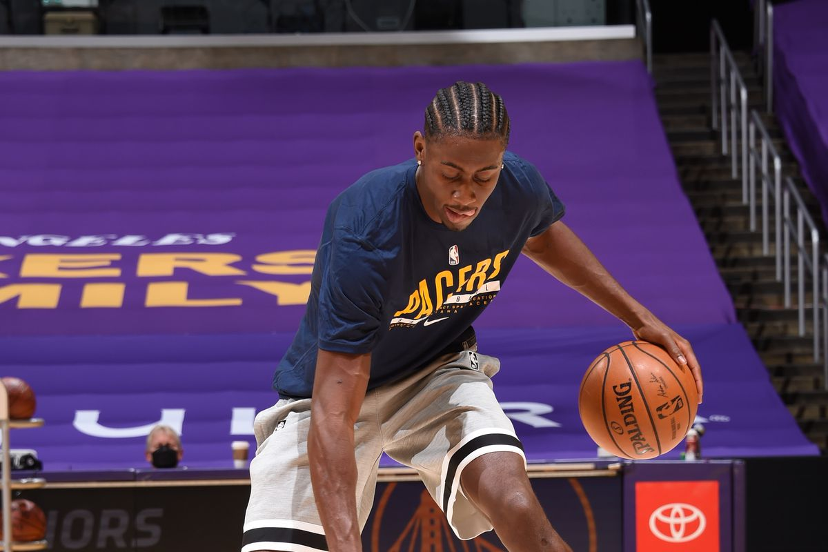 Caris LeVert #22 of the Indiana Pacers warms up before the game against the Los Angeles Lakers on March 12, 2021 at STAPLES Center in Los Angeles, California.