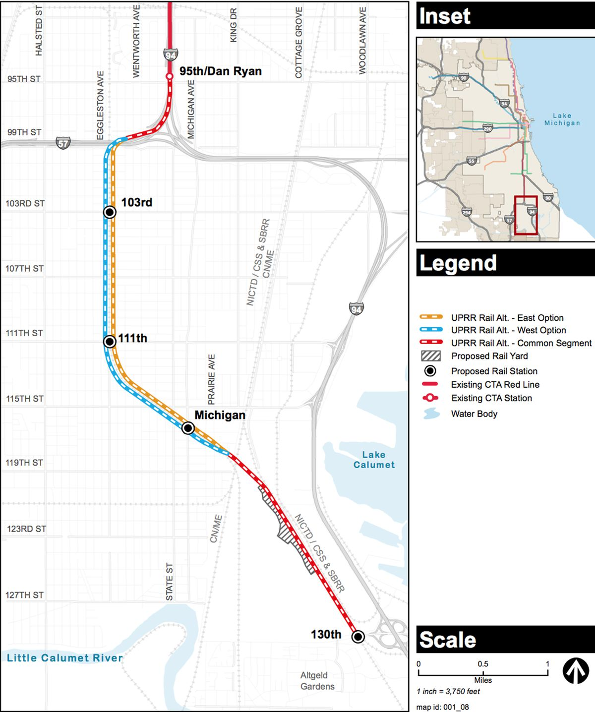 The CTA on Thursday released two possible routes for an extended Red Line. | Chicago Transit Authority