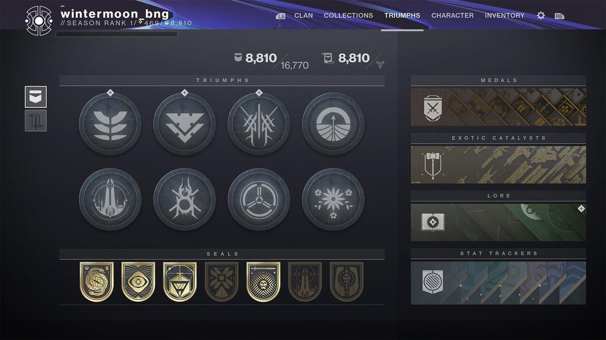 Destiny 2 Bungie Triumph UI