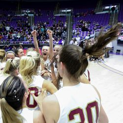 Cedar celebrates after defeating Pine View for the 4A girls basketball championship title at the Dee Events Center in Ogden on Saturday, Feb. 29, 2020.