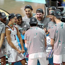Gonzaga celebrates after defeating BYU in the finals of the West Coast Conference tournament at the Orleans Arena in Las Vegas on Tuesday, March 9, 2021. Gonzaga won 88-78.