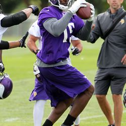 Jul 26, 2013; Mankato, MN, USA; Minnesota Vikings wide receiver Greg Jennings (15) catches a pass during training camp at Minnesota State University. Mandatory Credit: Brace Hemmelgarn-USA TODAY Sports