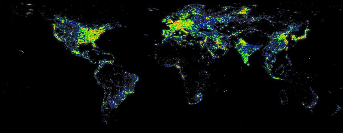 world atlas light pollution