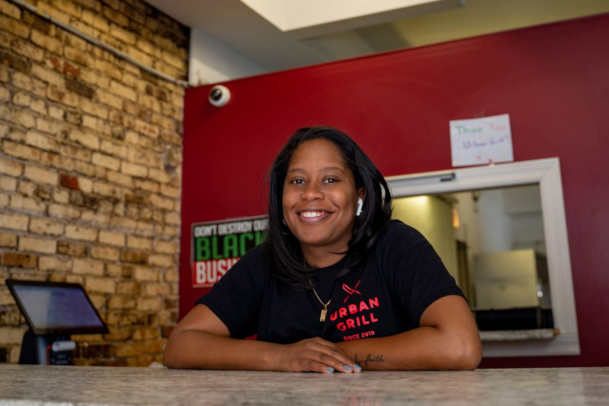 Brittany Ward, 32, owner of Urban Grill Chicago in Uptown, 1132 W. Wilson Ave., Wednesday afternoon, March 3, 2021.   Mengshin Lin/Sun-Times ORG XMIT: CST2103031549426872