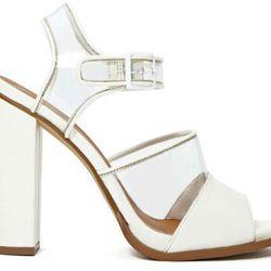 """<b>Shoe Cult</b> Clarity Sandal, <a href=""""http://www.nastygal.com/whats-new/Shoe-Cult-Clarity-Sandal"""">$88</a> at Nasty Gal"""
