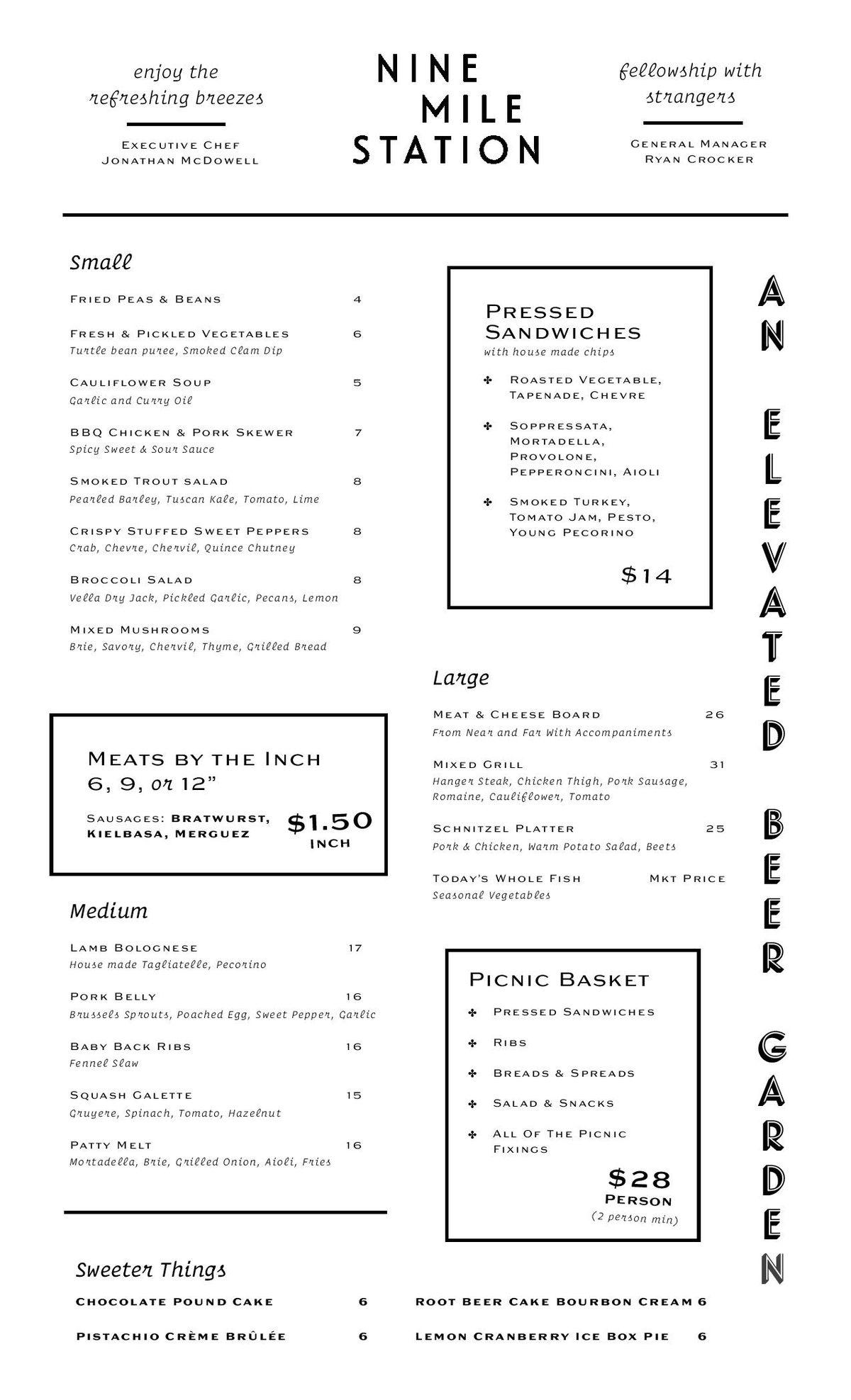 Nine Mile Station food menu